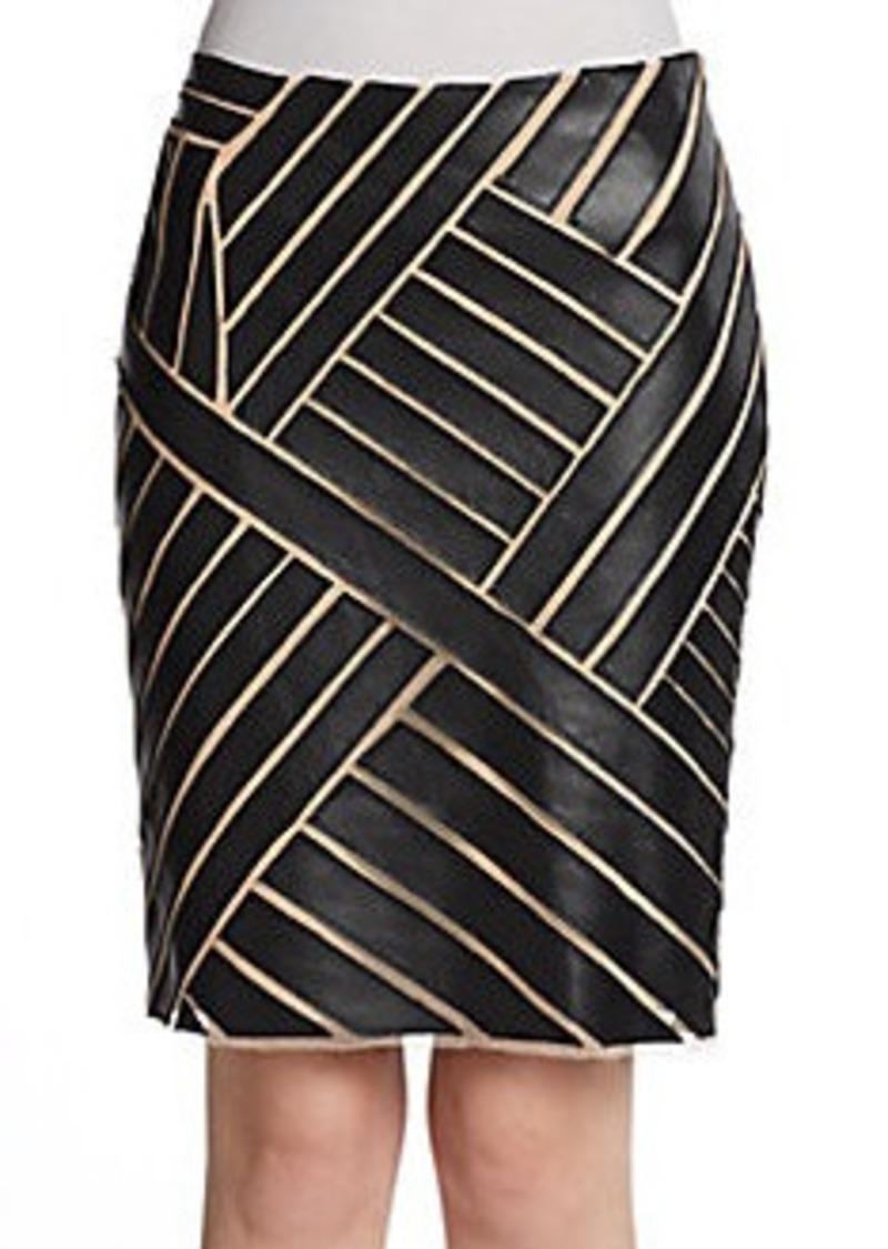Catherine Malandrino Faux-Leather Paneled Skirt