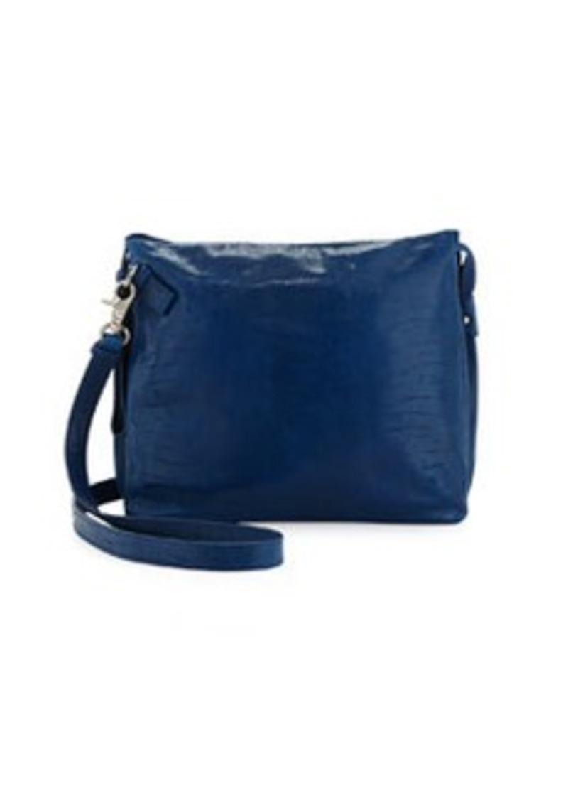 Foley + Corinna Crackled Leather Tablet-Cache Crossbody Bag, Azure