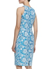 Carmen Marc Valvo Sleeveless Floral Lace Cocktail Dress, Ivory/Turquoise