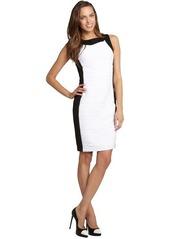 Calvin Klein black and white colorblock ribbed sleeveless dress
