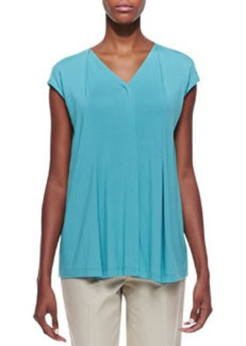 Lafayette 148 New York Lightweight Pleated Cap-Sleeve Top, Turquoise