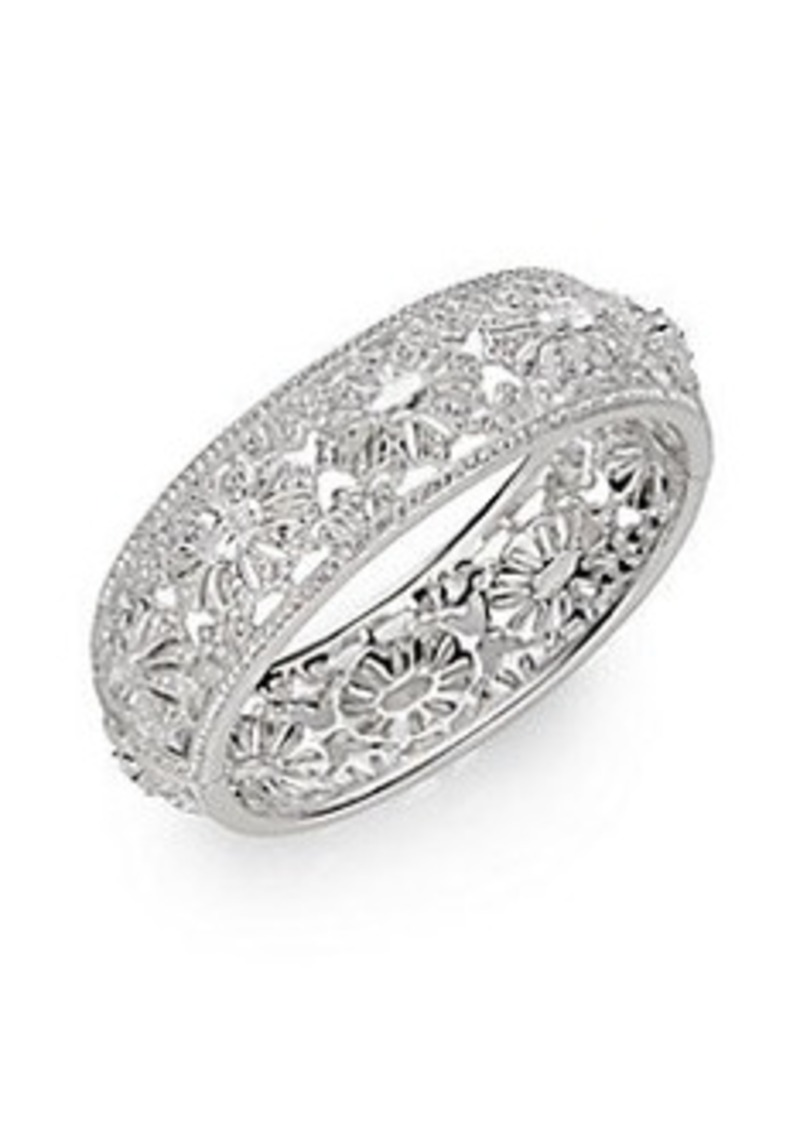 Adriana Orsini White Stone Floral Deco Bangle Bracelet