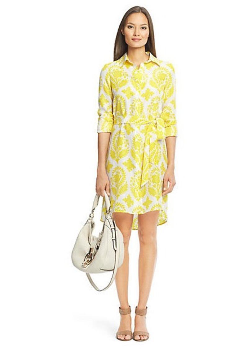 Diane Von Furstenberg Habotai Printed Silk Shirt Dress