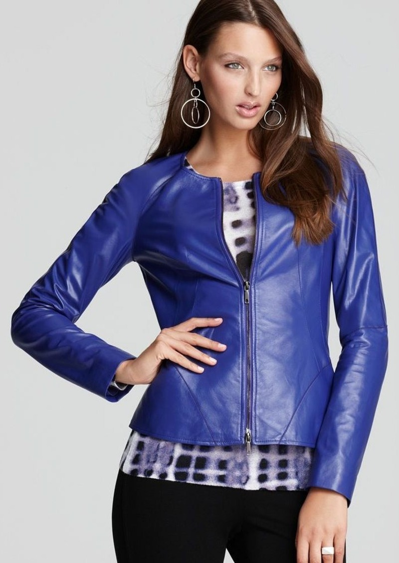 Lafayette 148 New York Collarless Motorcycle Jacket
