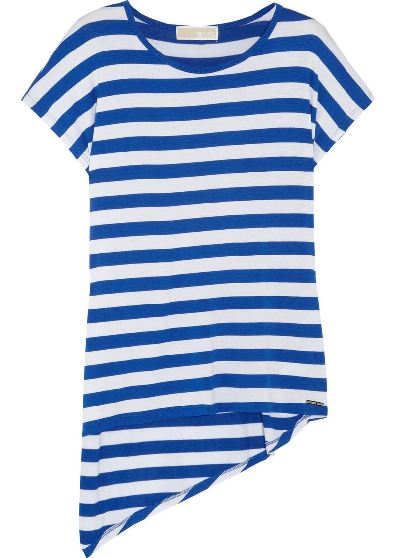 MICHAEL Michael Kors Asymmetric striped stretch-jersey top