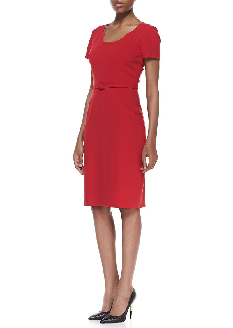 David Meister Short-Sleeve Belted Sheath Dress, Crimson
