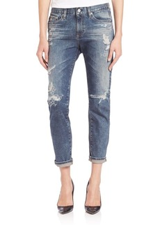 AG Adriano Goldschmied Beau Distressed Cropped Boyfriend Jeans