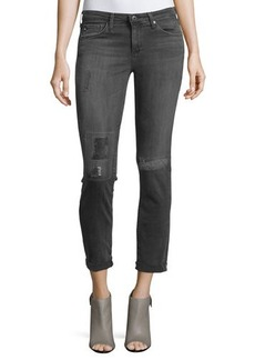 AG Distressed Skinny Rolled-Ankle Jeans
