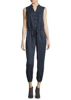 AG Frances Button-Front Cropped Jumpsuit