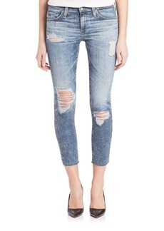 AG Stilt Cropped Acid Wash Distressed Jeans With Raw Hem