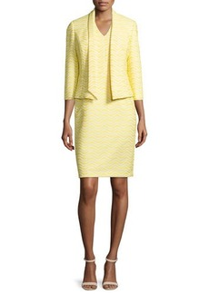 Albert Nipon Jacquard Jacket & Matching Sheath Dress Set  Jacquard Jacket & Matching Sheath Dress Set