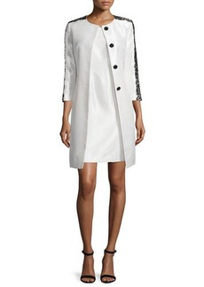 Albert Nipon Lace-Trim Jacket & Sheath Dress Set  Lace-Trim Jacket & Sheath Dress Set