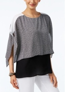 Alfani Colorblocked Overlay Top, Only at Macy's