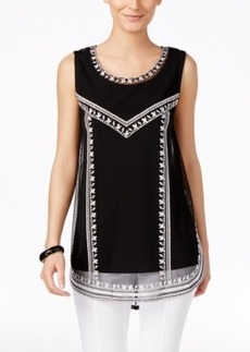 Alfani Embroidered Tank Top, Only at Macy's