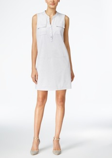 Alfani Faux-Suede Henley Shift Dress, Only at Macy's