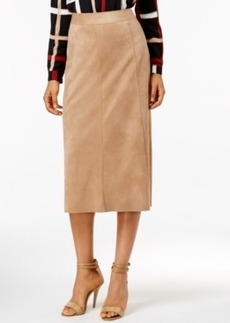 Alfani Faux-Suede Midi Pencil Skirt, Only at Macy's
