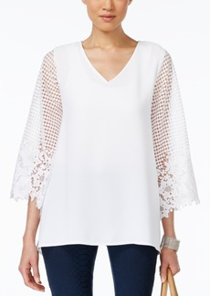 Alfani Lace-Sleeve Illusion Top, Only at Macy's