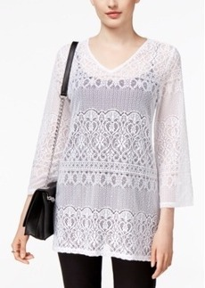 Alfani Lace V-Neck Blouse, Only at Macy's