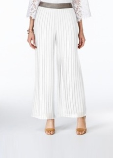 Alfani Metallic-Trim Pleated Palazzo Pants, Only at Macy's