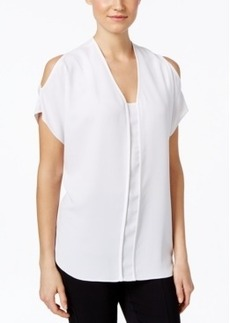 Alfani Petite Prima Cold-Shoulder Blouse, Only at Macy's
