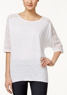Alfani Petite Crochet-Trim High-Low Top, Only at Macy's