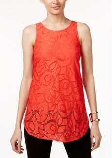 Alfani Petite Jacquard Illusion-Hem Top, Only at Macy's