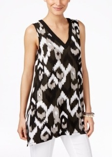 Alfani Petite Printed Sleeveless Handkerchief-Hem Top, Only at Macy's