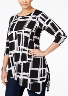 Alfani Plus Size Asymmetrical-Hem Top, Only at Macy's
