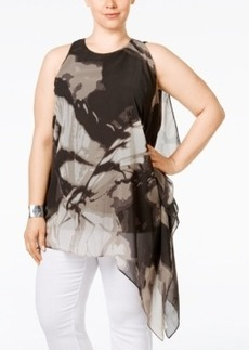 Alfani Plus Size Butterfly-Print Asymmetric Tunic, Only at Macy's