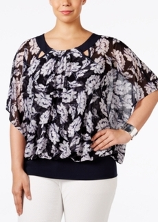 Alfani Plus Size Butterfly-Sleeve Blouson Top, Only at Macy's