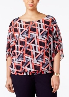 Alfani Plus Size Chiffon Blouson Top, Only at Macy's