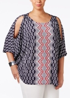 Alfani Plus Size Cold-Shoulder Poncho Top, Only at Macy's