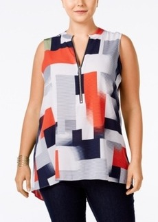 Alfani Plus Size Colorblocked Zip-Front Blouse, Only at Macy's