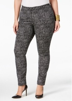 Alfani Plus Size Comfort-Waist Tweed-Print Skinny Pants, Only at Macy's