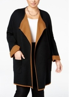 Alfani Plus Size Contrast-Trim Sweater Coat, Only at Macy's