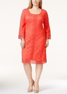 Alfani Plus Size Crocheted Lace Dress, Only at Macy's
