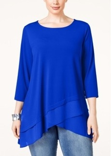 Alfani Plus Size Crossover-Hem Swing Top, Only at Macy's