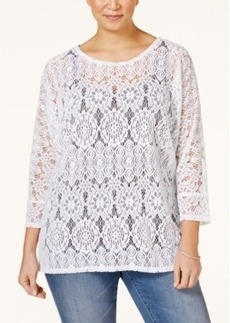 Alfani Plus Size Dolman-Sleeve Lace Top, Only at Macy's