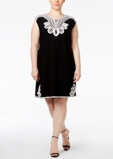 Alfani Plus Size Embroidered Shift Dress, Only at Macy's