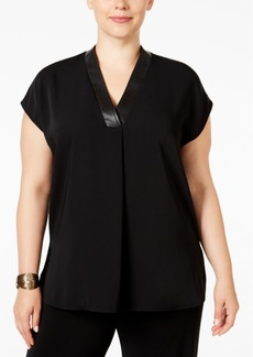 Alfani Plus Size Faux Leather-Trim Swing Top, Only at Macy's