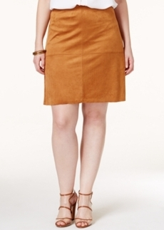 Alfani Plus Size Faux Suede A-Line Skirt, Only at Macy's
