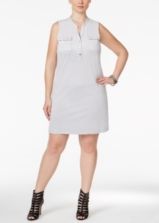 Alfani Plus Size Faux-Suede Shirtdress, Only at Macy's