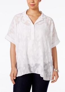 Alfani Plus Size Floral-Jacquard Blouse, Only at Macy's