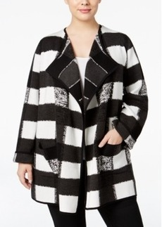 Alfani Plus Size Intarsia-Knit Sweater Coat, Only at Macy's