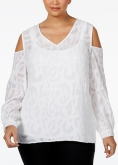 Alfani Plus Size Jacquard Cold-Shoulder Blouse, Only at Macy's