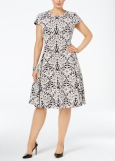 Alfani Plus Size Jacquard Fit & Flare Dress, Only at Macy's