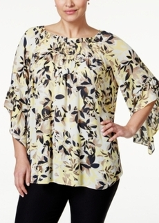Alfani Plus Size Leaf-Print Peasant Blouse, Only at Macy's