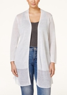 Alfani Plus Size Mesh-Panel Long Cardigan, Only at Macy's