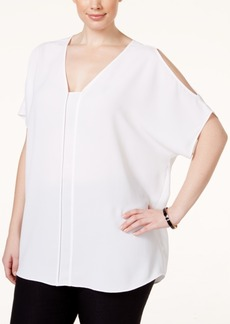 Alfani Plus Size Modern Cold-Shoulder Top, Only at Macy's