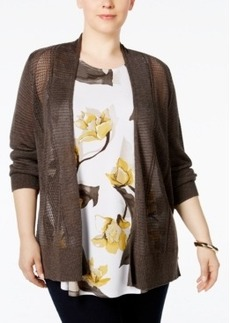 Alfani Plus Size Multi-Stitch Textured Cardigan, Only at Macy's